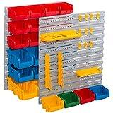 Wandplatten-Set 43-teilig - 2 Wandplatten mit Werkzeughaltern und Sichtlagerkästen