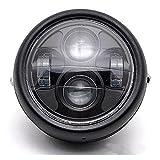 dlll LED Universal Metall Schwarz 16,5cm Scheinwerfer Projektor Scheinwerfer Hi/Lo Beam für Honda VT Shadow Spirit Velorex Deluxe 6007501100