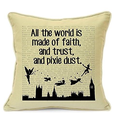 Imran's Gift Shop Housse de coussin faite main pour canapé ou chambre d'enfant Style vintage Motif Peter Pan Citation en anglais