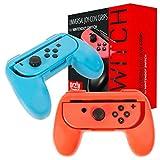 Grip Orzly compatibile con i Joy-Con del Nintendo Switch per un Comfort Extra (CONFEZIONE DOPPIA) - 2 Impugnature Universali (1 ROSSA + 1 AZZURRA) per i Joy-Con del Nintendo Switch