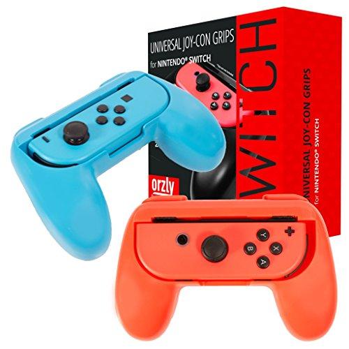Grips de Orzly compatibles con los Joy-Cons de la Nintendo Switch - PACK DE DOS (1x ROJO y 1x AZUL) Grips Universales para usar con los JoyCons de la Nintendo Switch