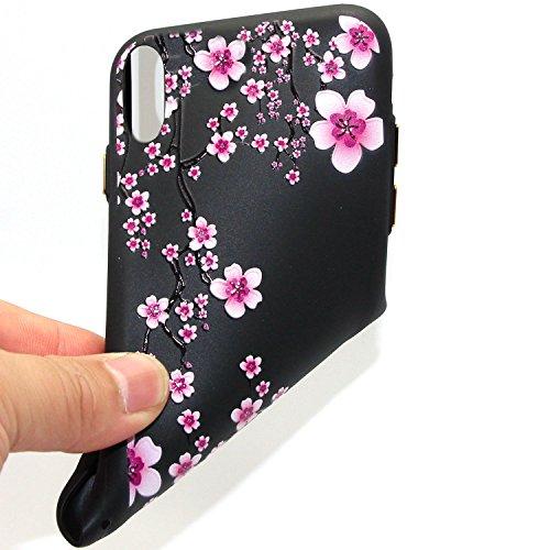Cover iPhone X,Custodia iPhone X,Custodia iPhone X Cover,ikasus® Cover custodia iPhone X disegno colorato TPU con 3d arte pittura floreale fiore fiori ciliegio girasole modello Custodia Cover [Shock-A Fiore #12