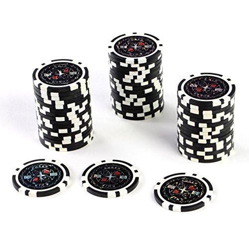 50 Poker-Chips Laser-Chips Wert 100 - 12g Metallkern Poker Texas Hold`em Black Jack Roulette – schwarz – reflektierend