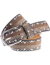 Damen Leder Gürtel Strass Vintage Nieten Antik Look G15  Farbwahl