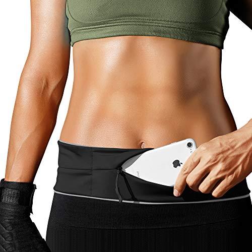 PORTHOLIC Laufgürtel für Smartphone,Lauftasche,Schlüssel Hüfttasche,Jogging Flip Gürtel mit Reißverschluss,Reflektierender Bund,für iPhone X/XS/XR/Max/7/8 Plus,Samsung S10/S7/8/9,Huawei,LG -