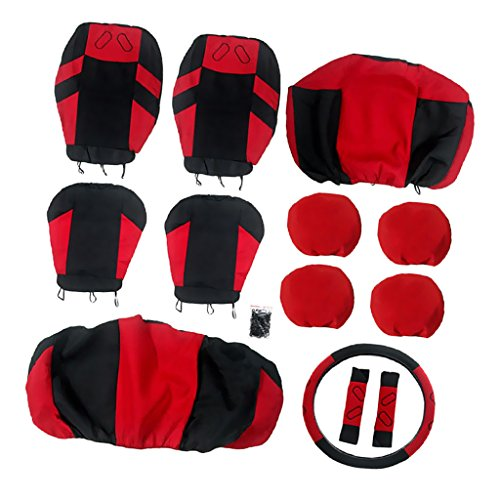 MagiDeal-13-Pezzi-Set-Coprisedile-Copertura-Protettiva-Universale-Automobilo-Rosso-E-Nero