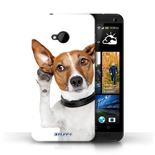 Hülle Case für HTC One/1 M7 / Scheues Kätzchen Entwurf / Lustige Tiere Collection Neugieriger Hund
