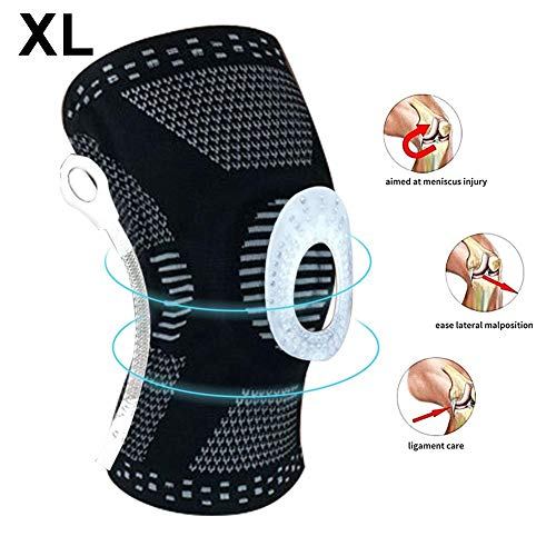 Inciple Knee Compression Sleeve, Breathable Fabric Knee Brace Sleeve with Side Stabilizers, Flexible Spring Hinge & Patella Gel Pads for Knee Support Care Knee - Elastic, Light -