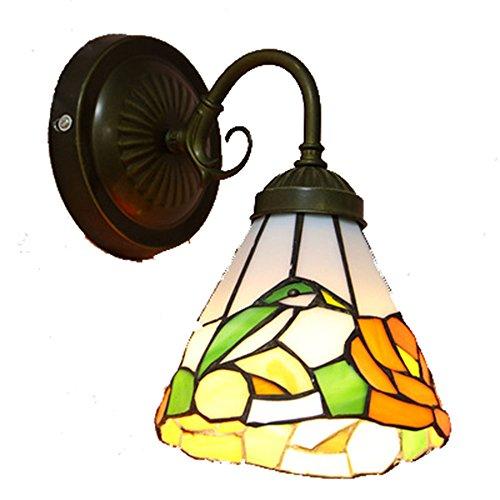 ZYF Beleuchtung Retro Tiffany-Stil 16 Cm E27 1 Licht Glasmalerei Wandlampe Backlack Nachttischlampe Schlafzimmer Lampe (Glasmalerei Tiffany-stil-lampe)