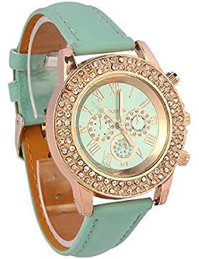 Amonfineshop(TM)Vogue-Frauen-Damen Kristall Zifferblatt Quarz Analog Leder Armband Armband uhr Mint Green