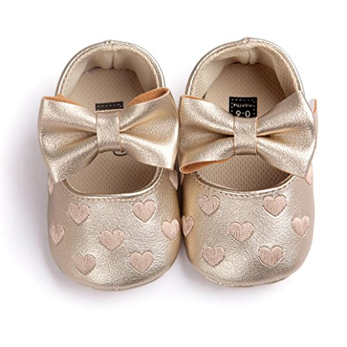 BZLine® Baby Mädchen Bowknot Leder Schuhe Kinderschuhe Gold