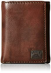 Levis Mens Trifold Wallet with Stitch Detail and Logo, Brown, One Size