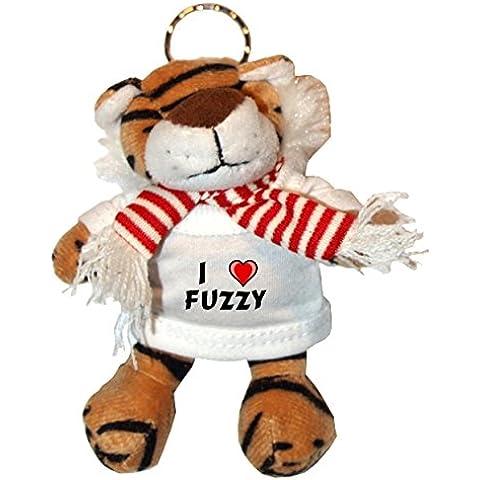 Tigre de peluche (llavero) con Amo Fuzzy en la camiseta (nombre de pila/apellido/apodo)