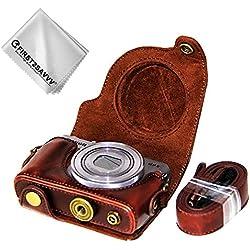First2savvv PU Cuir étui Housse Appareil Photo numérique pour Canon PowerShot G9 X Mark II. G9X MK2 G9 + Chiffon de Nettoyage XJD-G9XMkII-10