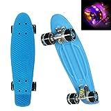 WeSkate 55cm Skateboard Komplett Mini Cruiser Vintage Fertig Montiert Skate Board mit LED Leuchtrollen für Kinder Erwachsene