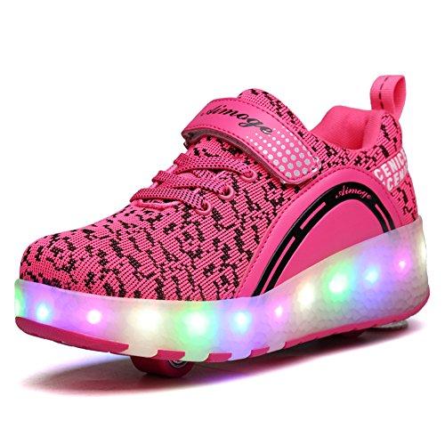 Unisex Schuhe mit Rollen Kinder Skateboard Schuhe Rollschuh Schuhe LED Light Wheels Sneakers Outdoor-Trainer für Junge Mädchen (34 EU, Zwei Räder / Rosa)