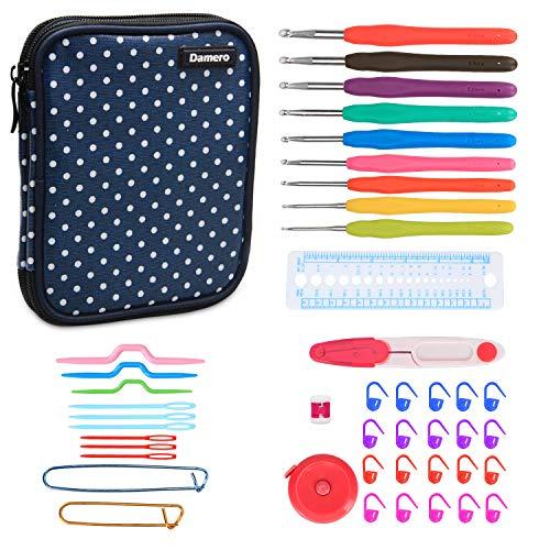 Damero Serie de Crochet Kits de Ganchillo Estuche para Crochet Organizador de Agujas Bolsa de Herramientas Juego del Ganchos (incluido accesorios),Puntos azules-Nueva versión