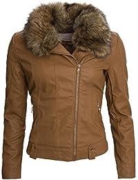 Warmer Damen Winter Kurz Parka Winterjacke großes Kunstfell Jacke Mantel B273
