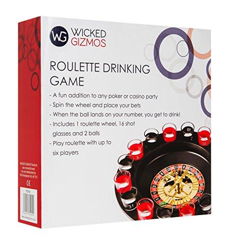 Wicked-Gizmos-Roulette-Trinkspiel–Ein-Klassiker-und-lustige-Ergnzung-fr-jeden-Poker-oder-Casino-Party-Nacht–inkl-Spinning-Roulette-Rad-16-nummeriert-schwarz-und-rot-Schnapsglser-und-2-Roulette-Kugel