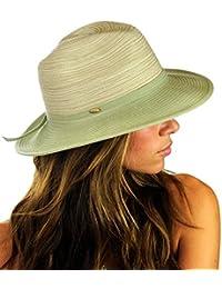 Chapeau d'été de style Panama à rebord, accentuée d'une bande tissée de couleur assortie. Produit offert par NYFASHION101.