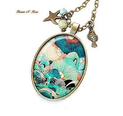 Sautoir Rêve marin cabochon bleu la mer bronze bijou collier