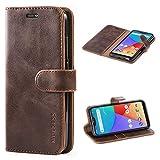 Mulbess Handyhülle für Xiaomi Mi A2 Lite Hülle, Leder Flip Case Schutzhülle für Xiaomi Mi A2 Lite Tasche, Vintage Braun