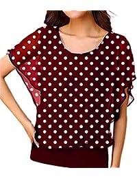8f3595fbb4381 Camisetas para Mujer Verano Manga Cortas Casual 2019 PAOLIAN Blusas  Elegante Gasa Fiesta Top Anchas Estampados Lunares Cuello…