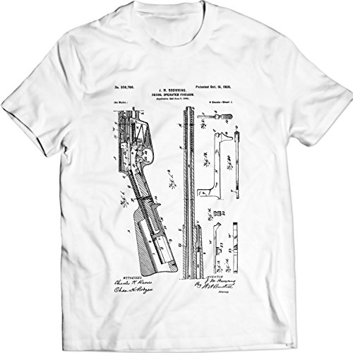 remington-retroceso-operated-arma-de-fuego-camiseta-l-blanco