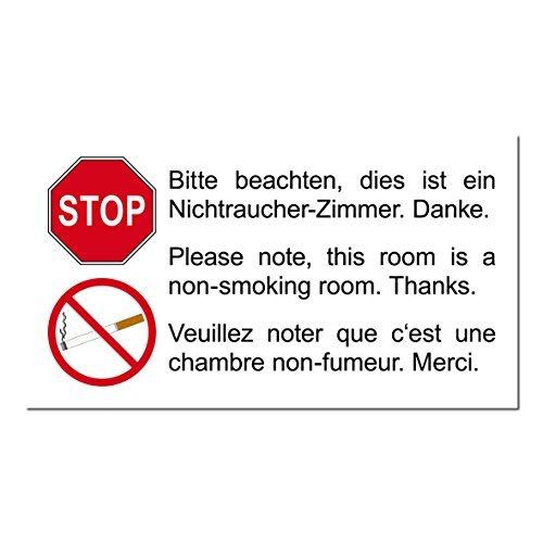 Preisvergleich Produktbild 25 Stück 9cm Aufkleber Sticker Hotel Pension Nichtraucherzimmer Rauchverbot 3 sprachig