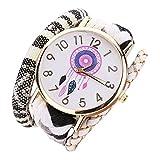 Fulltime Femmes élégant et chic Knit Montre-bracelet décoratif (blanc)
