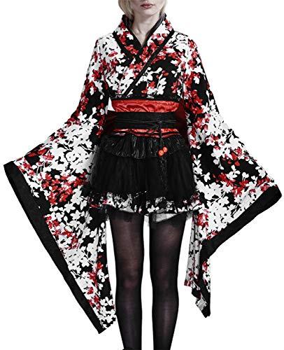 Pyon Pyon Kimono Noir avec Fleurs Blanches et Rouges lq 001 L
