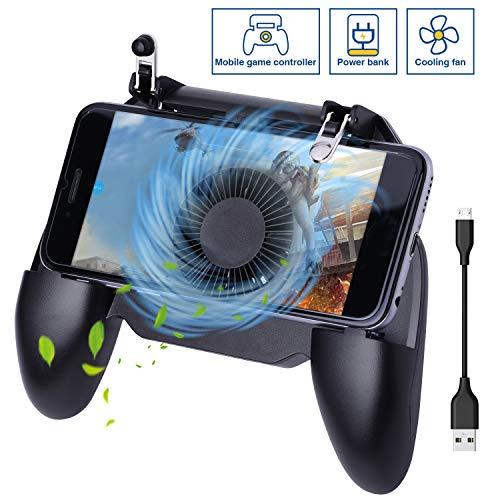 HEYSTOP Manette PUBG Mobile Contrôleurs de Jeu Mobiles, Avec Ventilateur de Refroidissement et Banque de Puissance de Batterie Intégrée 4000 mAh Manettes de Jeu Sensitive Shoot Aim pour Android et iOS