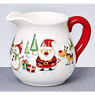 Navidad Santa y amigos jarrita de leche, jarra de leche de cerámica vajilla