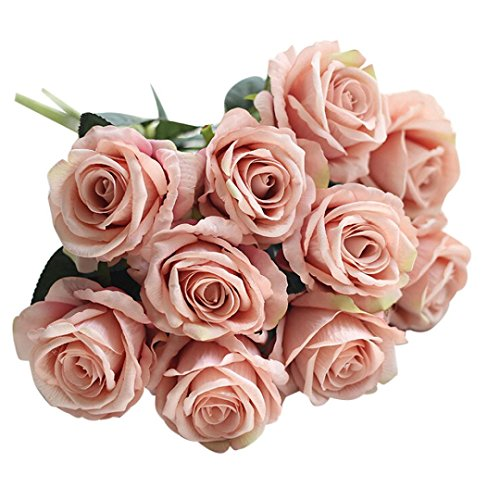 OverDose Künstliche gefälschte Rosen Flanell-Blume Brautstrauß Hochzeit Home Decor Artificial Fake Roses Bridal Bouquet (G, 5 Pcs)