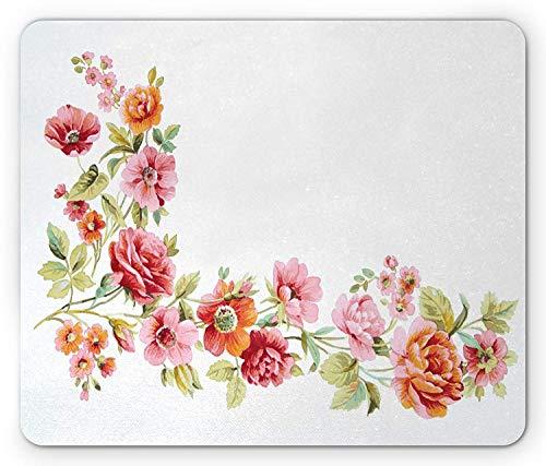 Aquarell-Blumen-Mausunterlage, romantische Sommer-Thema-Rosen-Blüten-aufwändige Weinlese-Kunst, Standardgrößen-Rechteck-rutschfestes Gummi-Mousepad, hellrosa orange hellgrün