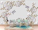 BZDHWWH Geprägte Juwel Blume Moderne 3D Tapete Wandbild Wohnzimmer Tv Sofa Wand Schlafzimmer Küche Tapeten Wohnkultur,420cm(W) x 260cm(H)