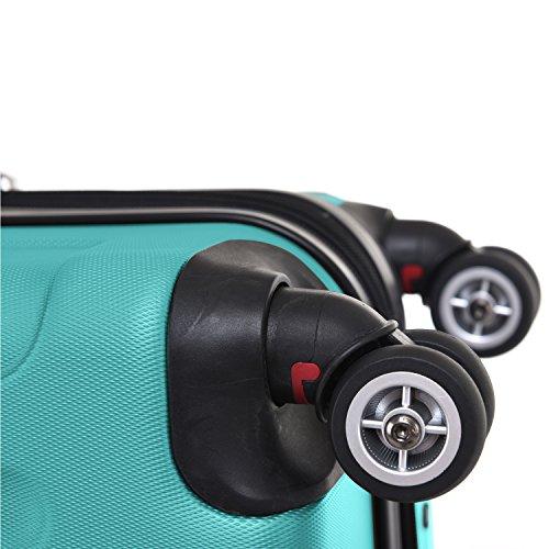SHAIK® Serie BUTTERFLY, FRA 3 Größen, M | L | XL | Set | 45/78/124 Liter Zahlenschloss (Türkis, XL | Großer Koffer) - 3