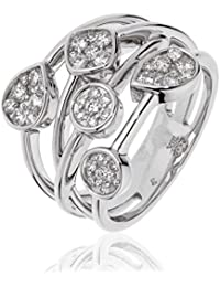 1.00CTS Certified G/VS2 Brilliant Cut Crossover Ring With Pear & Round Clusters in 18k White Gold