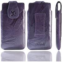 Original Suncase Echt Ledertasche für HTC 8S (Windows Phone) in wash-dunkellila