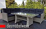 dasmöbelwerk Poly Rattan Sitzgarnitur Gartenmöbel Sitzgruppe Lounge Ecklounge Essgruppe Gartenset FLORENZ Grau