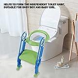 Töpfchen-Trainer, Weich/Hart Sitz Töpfchentrainer Toilettensitz-Stuhl Töpfchen Sitz mit rutschfester Trittleiter für Kleinkinder (weich, Blau + Grün)
