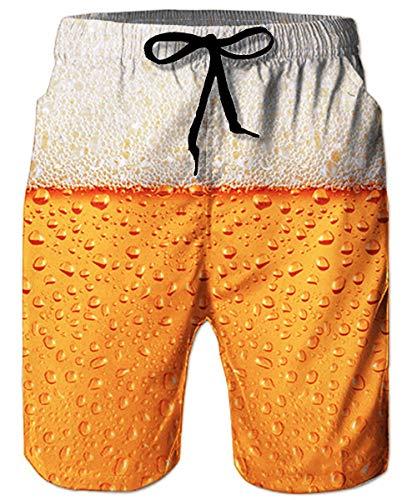 ALISISTER Bermuda Badeshorts Herren Sommer Bier Badehose 3D Druck Schnelltrocknend Hawaii Strand Sporthose Board Swim Shorts für Herren XXL
