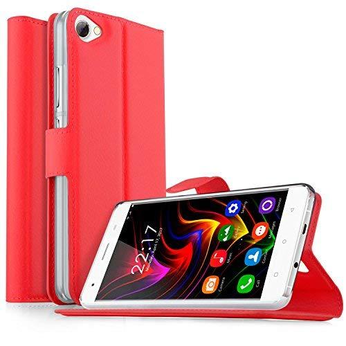 OUKITEL C5 / OUKITEL C5 Pro Hülle, KuGi OUKITEL C5 / OUKITEL C5 Pro Premium PU Leder Einschließlich rücksichtsvoller Gestaltung des magnetischen Teils Hülle Hülle Handyhülle für OUKITEL C5 / OUKITEL C5 Pro Smartphone (Rot)