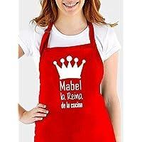 """Delantal ajustable y personalizado ...con la frase: """" (nombre) el Rey de la cocina, (nombre) la reina de la cocina"""". Varios colores.Regalo para Navidad"""
