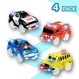 KaliningEU Magic Car (4 Pack) Light Up Track Race Car Toy, 5 Led Lights Coche de Carreras y School Bus y Police Cars y Coche de Bomberos Compatible con Pistas Magic Tracks