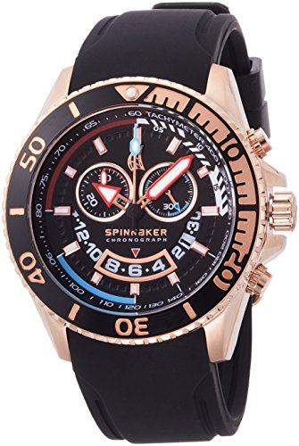 Spinnaker Amalfi Diver Men's Quartz Watch with Black Dial Chronograph Display on Black Silicon Band SP-5021-0C