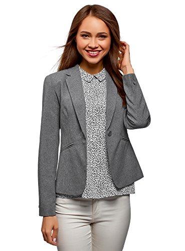 oodji Ultra Damen Taillierter Blazer Basic, Grau, DE 38/EU 40/M