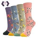 ECOMBOS Socken Damen Bunt - Lustige Socken Baumwoll Damensocken Lässige Socken Frauen, Gemusterte Dressed Geschenk für Mädchen (Vögel)