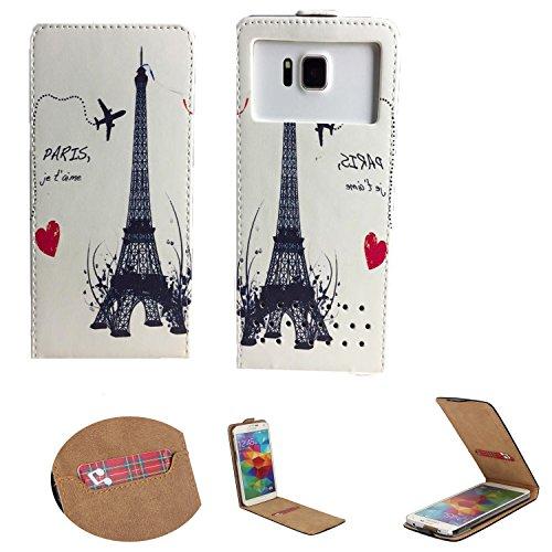 Handy Hülle für - ZTE Blade C341 - Flip Tasche mit Kreditkartenfach - Flip Nano XS Paris 1