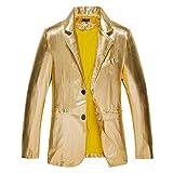 Herren Bunter Blazer Blitzende Sakko Mantel Anzugjacke Fit Slim Frühling Wesentlich Herbst Party Hochzeit Elegant Smoking Mantel (Color : Gold Farbe, Size : XL)